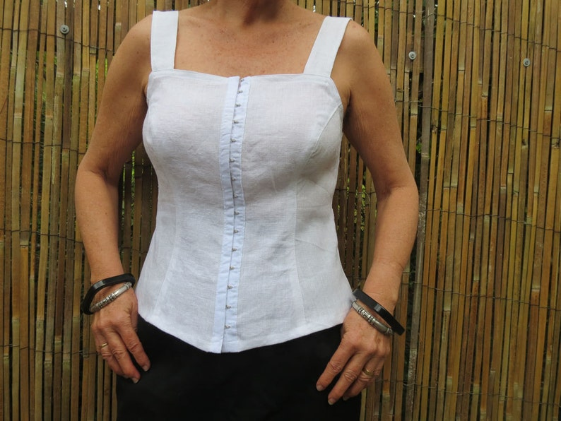 cc7fe0f620 Linen Clothing, White camisole, Corset top, Handmade, Pure Linen, Black  camisole, Summer top, Shell top