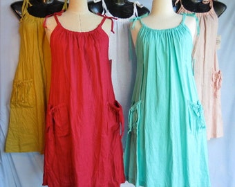 Women's Crushed Linen Sundress with Pockets, Summer dress in Bright Colours