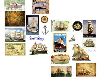 Sail Away Digital Collage Set