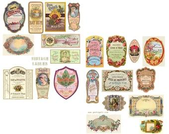 Vintage Labels Digital Collage Set