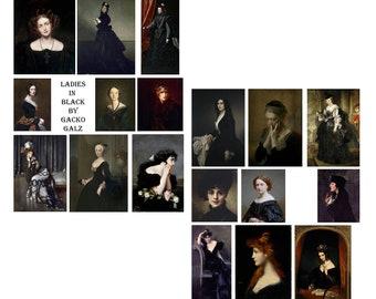 Ladies In Black Digital Collage Set