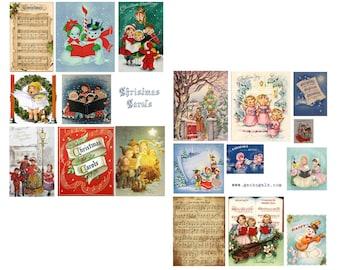 Christmas Carols Digital Collage Set