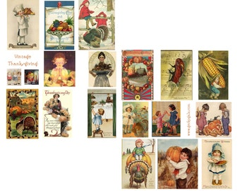 Vintage Thanksgiving Digital Collage Set