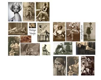Vintage Vamps Collage Set