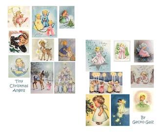 Tiny Christmas Angels Digital Collage Set