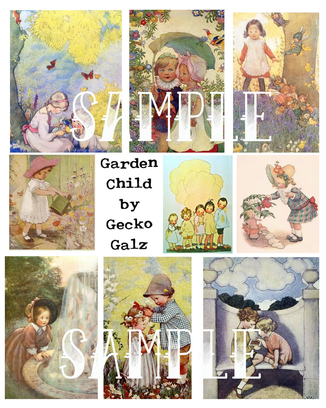 Garden Child Digital Collage Sheet image 0
