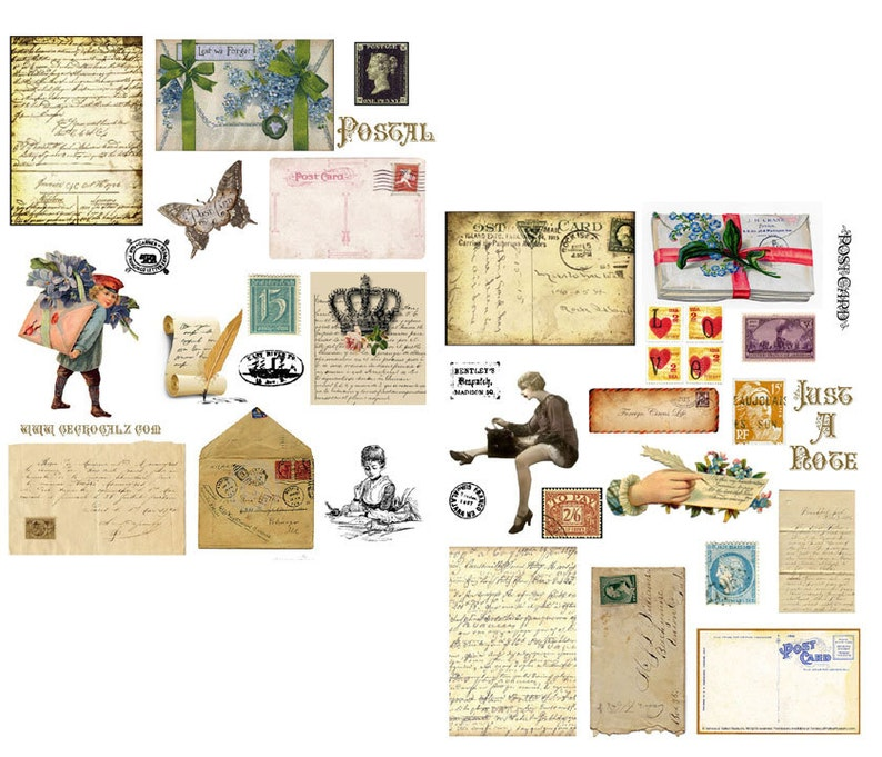 Postal Digital Collage Set image 0