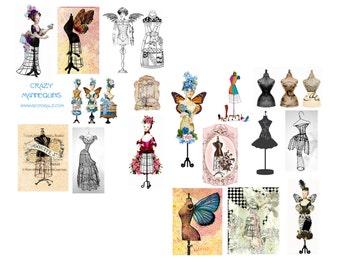 Crazy Manniquins Digital Collage Set
