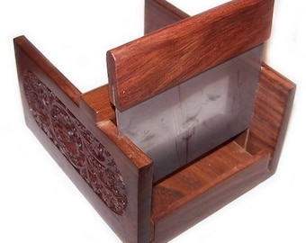 A very pretty CARVED WOODEN SOAPCUTTER which gives you a standard size thickness when cutting handmade loaf soap - metal cutting blade