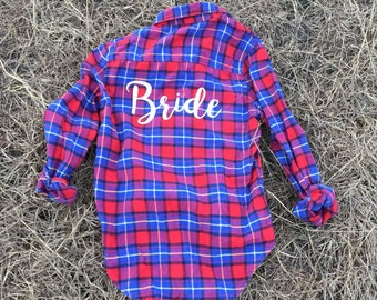 Custom flannel, personalized flannel, vintage, customized plaid, group flannels, customize bridal flannel, bridesmaid gift, family flannel