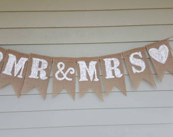 Mr & Mrs burlap wedding banner. Bridal shower banner. Made by a stay at home veteran.