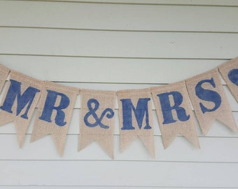 Mr&Mrs wedding burlap banner