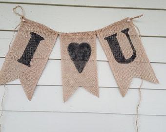 I love you burlap banner