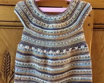 Hand Knitted Merino Wool Baby Dress (3-6mths)