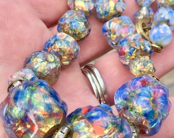 Art Deco Venetian Opalescent Fire Opal Foil Art Glass Beaded Necklace   Gorgeous  Italian Antique  1920s Deco