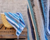 Crocheted striped baby blanket blue grey eco wool