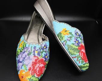 size 8 / EUR 38 / 25.5cm Peranakan Covered Beaded Shoe Flower