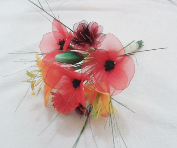 Poppy Carnation Lily Flower Bouquet Wedding Bridal Etsy