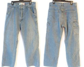 bde235f8 90s Levis Jeans 33 x 31 Mens Carpenter Pants Blue Denim