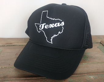 TEXAS Hat Cap Black 80s 1980s Snapback adjustable rounded rim Nissun brand a19a720ffde1