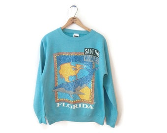 Florida Save the Whales Sweatshirt size Large 1980s earth day blue extinct bd8ed41d2