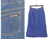 90s Jean Denim Skirt Size XS Waist 22 Inches Classic Back Pocket Long Below Knee