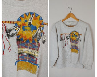 American Indian sweatshirt size Large 1990s 90s gray Native American spear  buffalo 9ee2b7b10