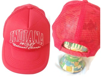 Indiana National Champions Hat Cap Red 1987 80s 1980s Snapback adjustable 7f9db98730a4