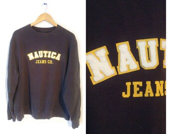 NAUTICA Sweatshirt size Large Navy blue with spell out on front 2a8ee4b18