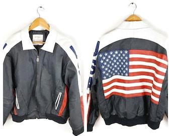 7d9d9df99 Leather flag jacket | Etsy