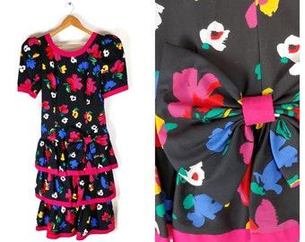 843ed7709 Vintage 80s Leslie Lucks Dress floral big bow ruffles 1980s beauty