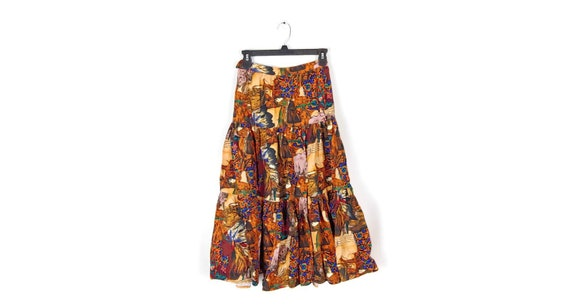 1970s Cowgirl Cowboy Horse Skirt size XS/S brown s