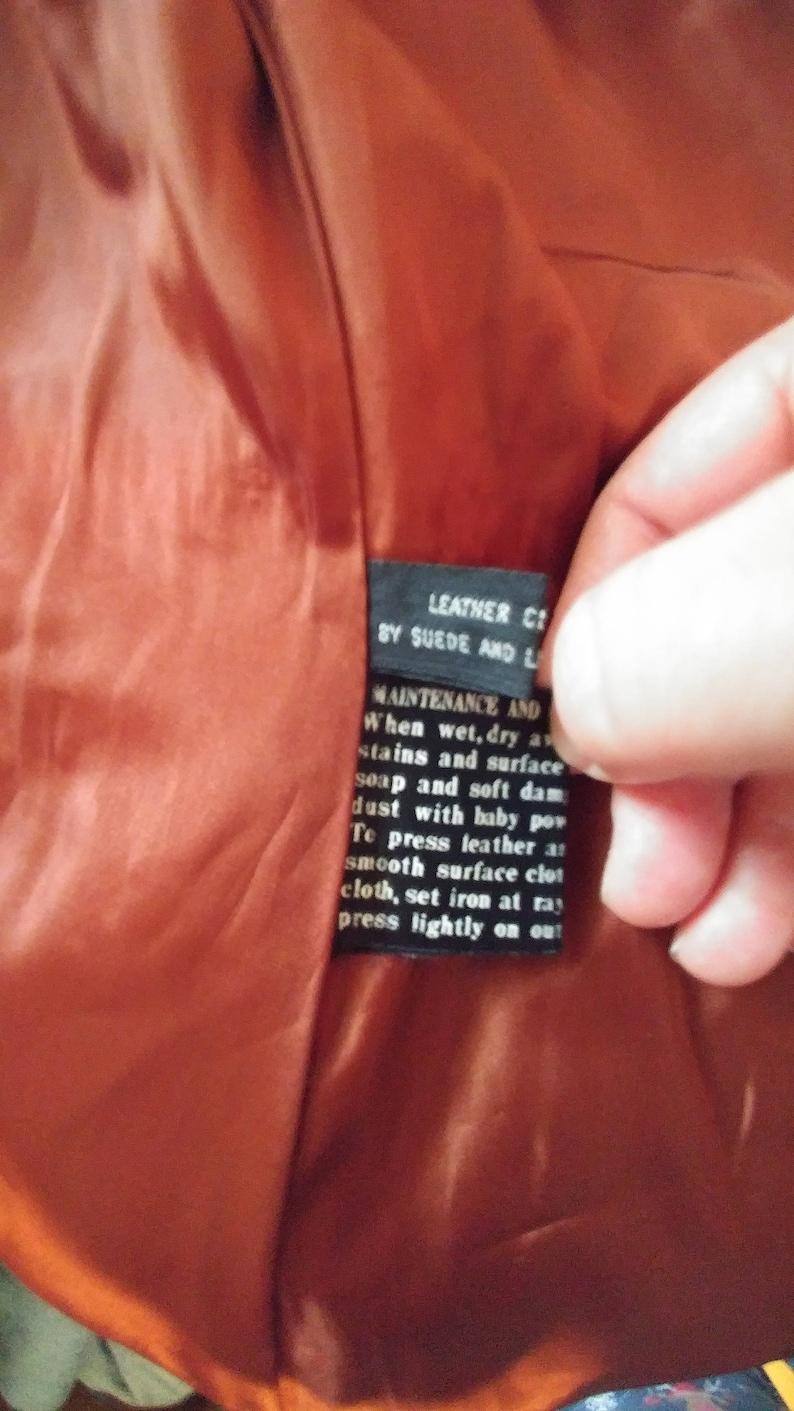Leather 1970s jacket coat size Medium caramel brown Suburban Heritage