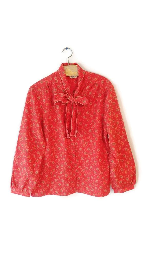 Blouse 1970s red size 1X Plus top fun cute Rhoda Lee brand