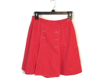 """Red Skort Skirt shorts Vintage buttons 70s cute fun sporty size XS/S 24"""" waist"""