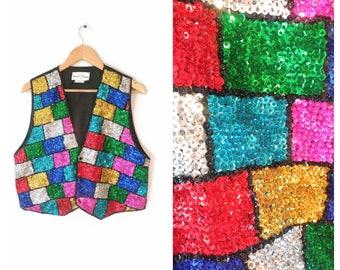 Patchwork Vest Womens size Medium Bali Gem sequin fun colorful