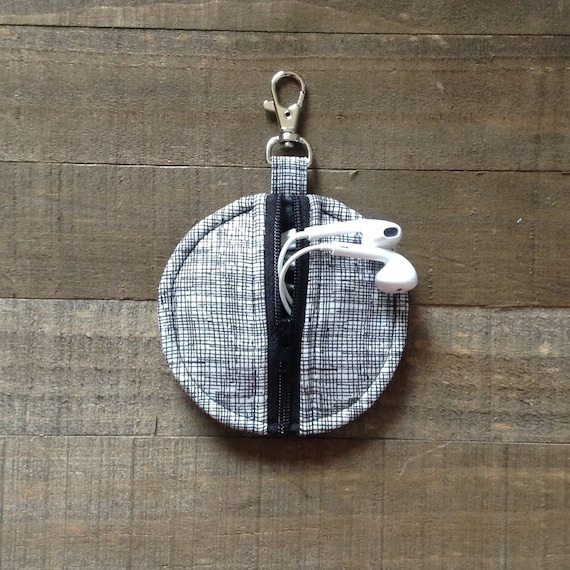 As Seen in Better Homes and Gardens Magazine- Black and White Sketch Circle Zipper Earbud Pouch Coin Purse Case Holder