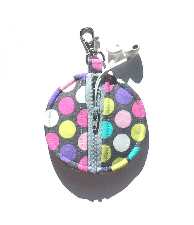 Purple Lime Green Diddly Dot Circle Zip Earbud Pouch  Coin Purse  Pink White Turquoise Polka Dots on Gray