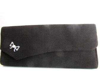 Deco Clutch Bag Peau de Soie Black Silk Pretty Faux Marcasite & Glass Faux Opal Bow Detail