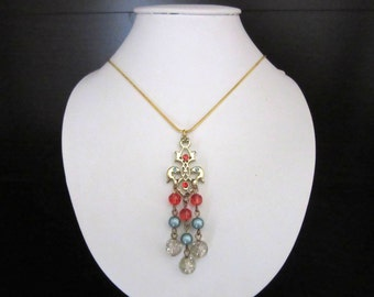 Waterfall Beaded Pendant Necklace Multicolor Lucite Resin Beads & Rhinestones Ornate Setting Gold Plated Snake Chain 17 Inches