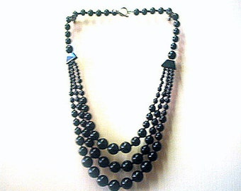 Black Glass Bead Necklace Triple Strand 18 Inches