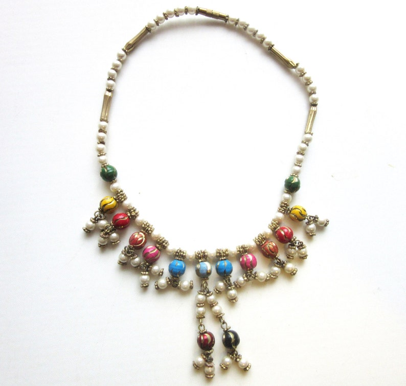 Middle Eastern Bib Necklace Enamel /& Glass Pearls Multicolor 14 Inches Size Small Child Teen