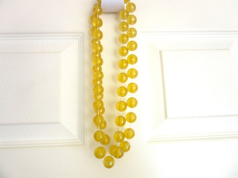 Extra Long Necklace Huge Golden Yellow Translucent Lucite Beads AB Finish 46 Inches Statement Fashion Runway