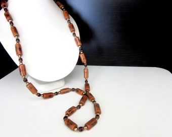 Extra Long Necklace Porcelain Hand Painted Beads with Genuine Garnet Detail 31 - 33.5 Inches