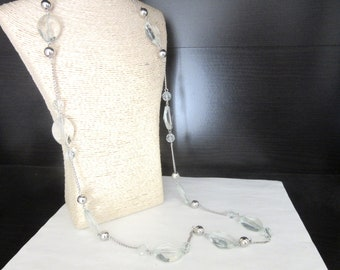 Extra Long Illusion Necklace Chunky Faceted Lucite &  Silver Metallic Beads Translucent Aquamarine Color 38 - 40 Inches