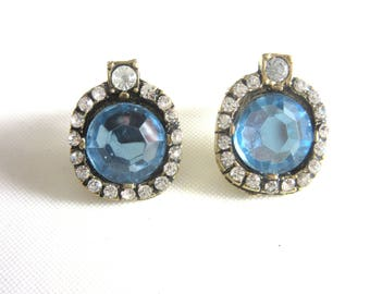 Faux Blue Topaz Post Earrings with Clear Rhinestones