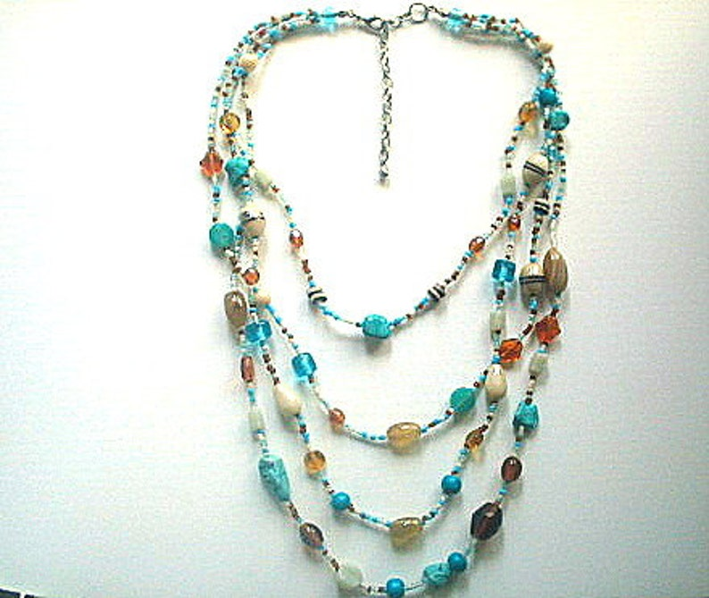 Multistrand Glass Bead Necklace with Turquoise Chips 16-23 Inches