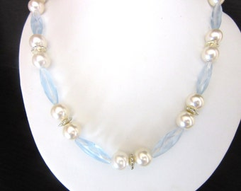 Vintage Lucite & Faux Pearl Necklace Ice Blue Faceted Beads 21 - 23 Inches