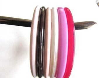 Lot Six Resin Bangles Slim Spacers Multi Colors