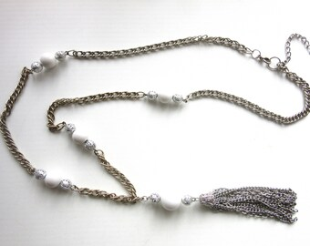 Long Tassel Necklace Filigree Piercework Silver Tone & White Lucite Beads with Rope Chain 31 - 34 Inches Plus